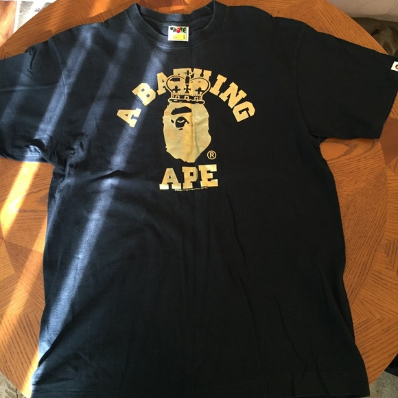 8b227e8b Bape Shirts | A Bathing Ape Gold Foil Tshirt Black L Large | Poshmark